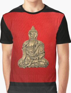 Sacred Symbols - Gold Buddha on Black and Red  Graphic T-Shirt