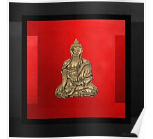 Sacred Symbols - Gold Buddha on Black and Red  Poster