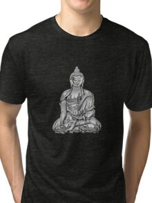 Sacred Symbols - Silver Buddha on Red and Black Tri-blend T-Shirt