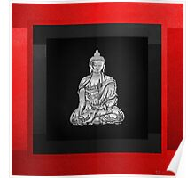Sacred Symbols - Silver Buddha on Red and Black Poster