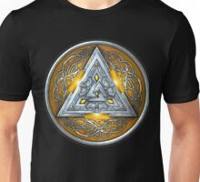 Norse Triskele Valknut Shield in Silver and Yellow Unisex T-Shirt