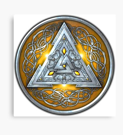 Norse Triskele Valknut Shield in Silver and Yellow Canvas Print