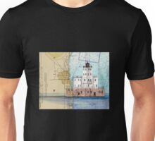 Milwaukee Breakwater Lighthouse WI Map Cathy Peek Unisex T-Shirt