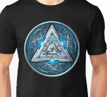 Norse Triskele Valknut Shield in Silver and Sea Blue Unisex T-Shirt