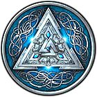 Norse Triskele Valknut Shield in Silver and Sea Blue by NaumaddicArts