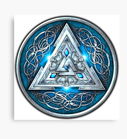 Norse Triskele Valknut Shield in Silver and Sea Blue Canvas Print