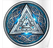 Norse Triskele Valknut Shield in Silver and Sea Blue Poster