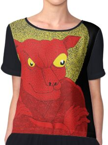Red Cat Demon up to no good under a bad moon Women's Chiffon Top