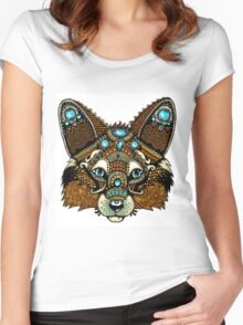 Tribal Fox Design Women's Fitted Scoop T-Shirt