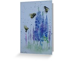 Bumble bees among delphiniums Greeting Card
