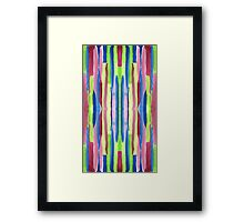 Watercolor Vertical Stripes Pattern Red Blue Green Framed Print