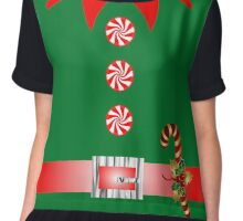 cute cartoon merry christmas elf costume Chiffon Top