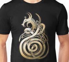 Norse Knotwork Dragon in Textured Bone Unisex T-Shirt