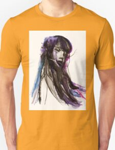 SEA - Ink and Charcoal Jellyfish Portrait T-Shirt