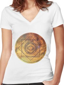 Design On the Front - Eye of the Nebula Clothing Women's Fitted V-Neck T-Shirt