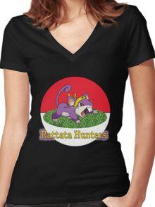 Rattata Hunters Women's Fitted V-Neck T-Shirt