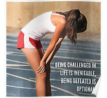 Being Defeated Is Optional (Woman's Fitness Motivation) Poster