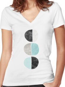 Abstract half circles in turquoise, black and gray Women's Fitted V-Neck T-Shirt