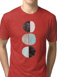 Abstract half circles in turquoise, black and gray Tri-blend T-Shirt