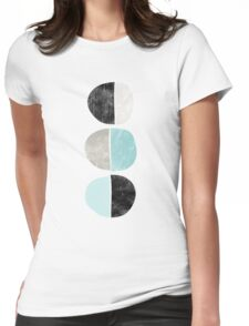 Abstract half circles in turquoise, black and gray Womens Fitted T-Shirt