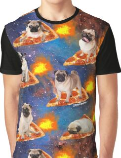 Pugs in Space Riding Pizza Graphic T-Shirt
