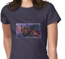 Dark Silhouette Against a Crystalline Sunset Womens Fitted T-Shirt