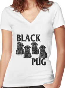 black pug Women's Fitted V-Neck T-Shirt