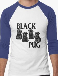 black pug Men's Baseball ¾ T-Shirt