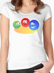 Blue Red And Green Fun Colourful Smiley's Women's Fitted Scoop T-Shirt
