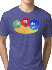 Blue Red And Green Fun Colourful Smiley's Tri-blend T-Shirt