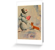 Welsh Pembroke Corgi Dog~Snowman~LOVE~Valentine Greeting Card