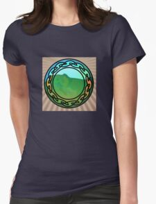 Lush, Green Hillside through a Stained Glass Window Womens Fitted T-Shirt