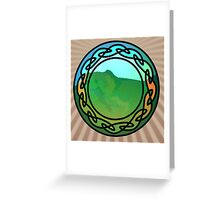 Lush, Green Hillside through a Stained Glass Window Greeting Card