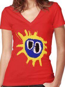 PRIMAL SCREAM RETRO SCREAMADELICA Women's Fitted V-Neck T-Shirt