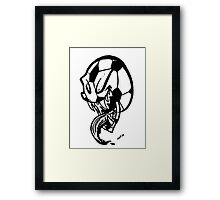 Soccer Monster Black and White Framed Print