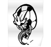 Soccer Monster Black and White Poster