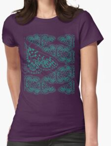 Crambid moth, Polygrammodes sp. - Blue pattern Womens Fitted T-Shirt