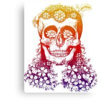Floral Rainbow Skull Canvas Print