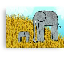 Cute elephants on grassy hill. Canvas Print