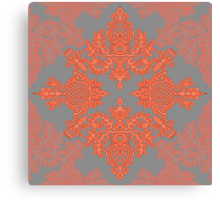 Burnt Orange, Coral & Grey doodle pattern Canvas Print