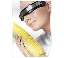 Cyber woman with corn Poster