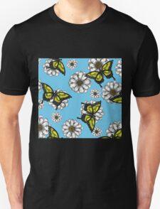 Daisy and Butterflies Pattern Unisex T-Shirt