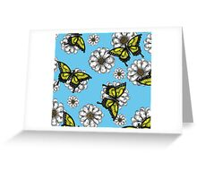 Daisy and Butterflies Pattern Greeting Card
