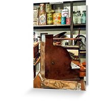 Wooden Cash Register in General Store Greeting Card
