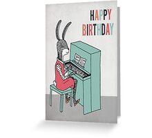 Happy Birthday - Rabbit Plays Piano Greeting Card