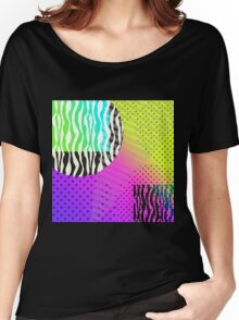 Full Moon in Zebra Geometric Psychedelic Eighties Inspired Design Women's Relaxed Fit T-Shirt