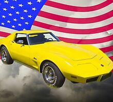 1975 Corvette Stingray Sports Car And American Flag by KWJphotoart