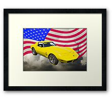 1975 Corvette Stingray Sports Car And American Flag Framed Print