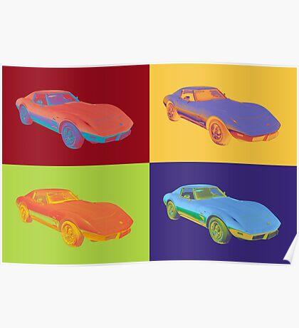 1975 Chevy Corvette Stingray Sports Car Pop Art. Poster