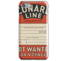 Cunard Line vintage luggage label iPhone Case/Skin